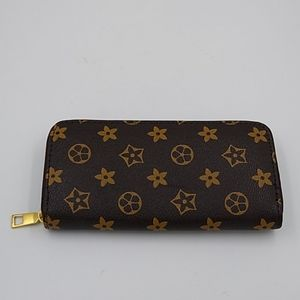 Brown Floral Vegan Leather Zip Around Wallet